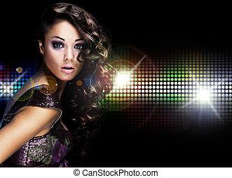 mulher bonita, jovem, dançar
