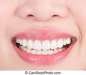 mulher bonita, jovem, dentes