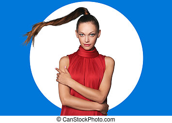 mulher bonita, jovem, divertido, vestido, vermelho