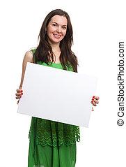 mulher bonita, jovem, em branco, ter, vestido, cartão