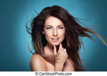 mulher bonita, jovem, flying., cabelo, retrato
