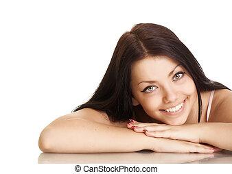 mulher bonita, jovem, fundo, sorrizo, branca