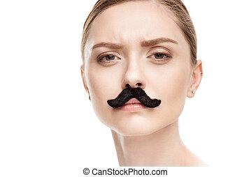 mulher bonita, jovem, isolado, olhar, câmera, pretas, white., bigodes