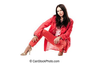 mulher bonita, jovem, isolado, suit., vermelho