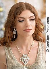 mulher bonita, jovem, jóia