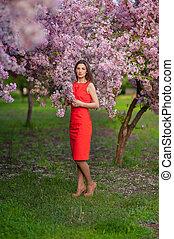 mulher bonita, jovem, jardim