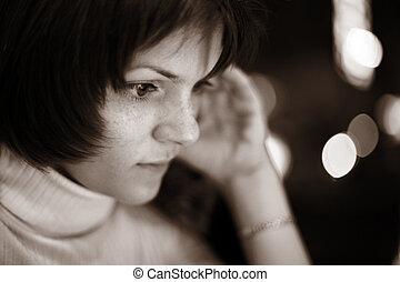 mulher bonita, jovem, leitura