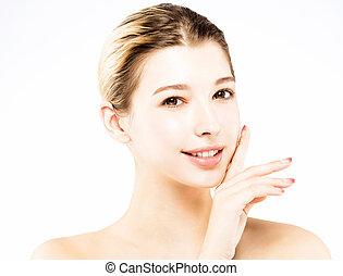 mulher bonita, jovem, limpo, rosto
