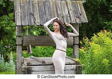 mulher bonita, jovem, longo, excitado, vestido