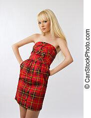 mulher bonita, jovem, longo, grisalhos, fundo, loiro, vestido, vermelho