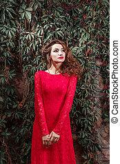 mulher bonita, jovem, longo, vestido, vermelho
