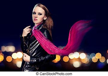 mulher bonita, jovem, luzes, fundo, noturna