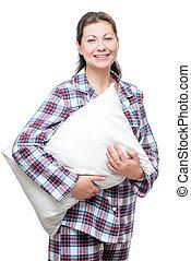 mulher bonita, jovem, posar, fundo, branca, travesseiro, pajama