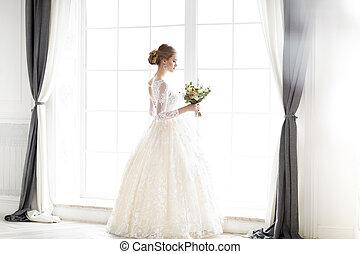 mulher bonita, jovem, posar, loura, vestido casamento