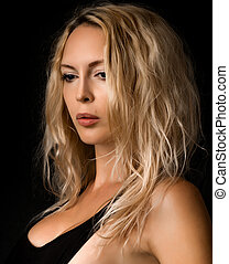 mulher bonita, jovem, pretas, loura, retrato