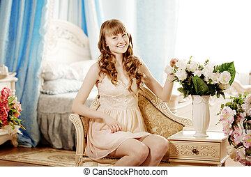 mulher bonita, jovem, quarto