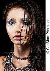 mulher bonita, jovem, rosto, cabelo, molhados, retrato