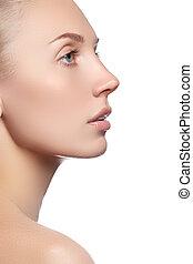 mulher bonita, jovem, rosto, skin., limpo, fresco, retrato