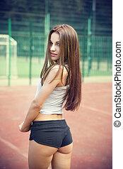 mulher bonita, jovem, sportswear