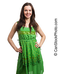 mulher bonita, jovem, verde, sorrindo, vestido