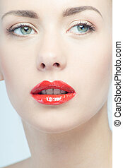 mulher bonita, lábios, retrato, excitado, loiro, vermelho