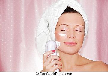 mulher bonita, limpeza, rosto