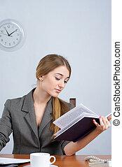 mulher bonita, livro, leitura, negócio