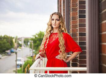 mulher bonita, longo, loura, vestido, vermelho