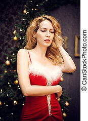 mulher bonita, loura, excitado, vestido, natal, vermelho