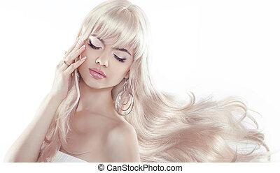 mulher bonita, loura, jovem, longo, bonito, hair., modelo,...