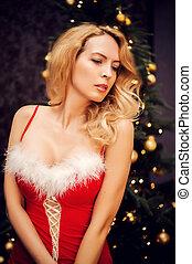 mulher bonita, loura, vestido, natal, vermelho