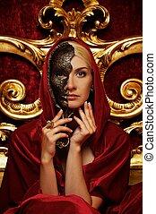mulher bonita, máscara, carnaval