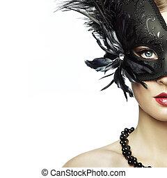 mulher bonita, máscara, jovem, veneziano, pretas, misteriosa