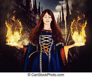 mulher bonita, magia, medieval, fogo, fantasia, dress., feiticeira