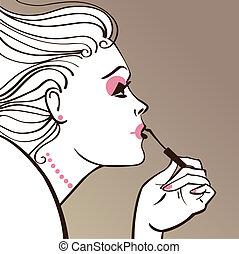 mulher bonita, maquiagem aplicando
