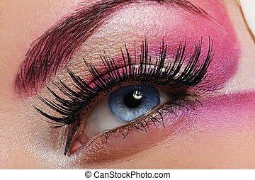 mulher bonita, maquiagem olho