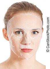 mulher bonita, mask., jovem, collagen