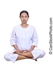 mulher bonita, meditação