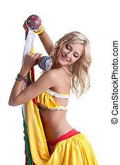 mulher bonita, mexicano, dança, executar, jovem
