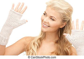 mulher bonita, mittens