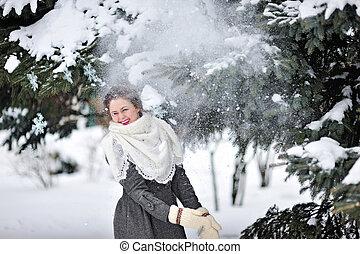 mulher bonita, mittens, inverno
