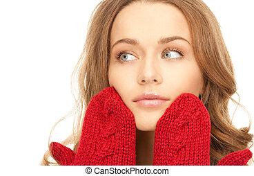 mulher bonita, mittens, vermelho
