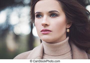 mulher bonita, moda, ao ar livre, retrato, modelo