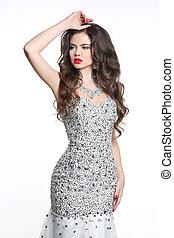 mulher bonita, moda, beleza, hair., jovem, longo, ondulado, fundo, retrato casamento, menina, vestido, branca