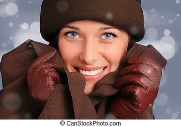 mulher bonita, moda, inverno