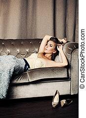 mulher bonita, moda, luxo, interior, modelo