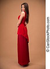 mulher bonita, moda, retrato, vestido, vermelho