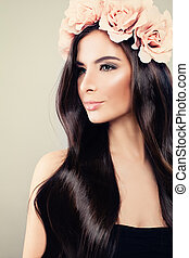 mulher bonita, modelo moda, com, perfeitos, penteado, maquilagem, e, rosa, flores