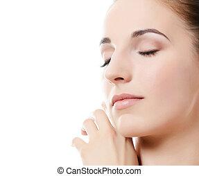 mulher bonita, natural, foto, skin., make-up., spa, woman., ...