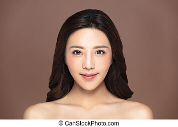mulher bonita, natural, maquilagem, jovem, limpo, pele